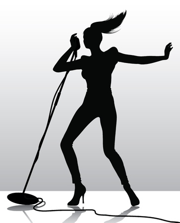 singer with microphone: silhouette of a female singer
