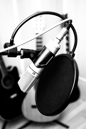 microphone and guitars in music studio  Stock Photo - 23905387