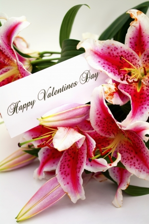 happy valentines: happy valentines day greeting card with lilium flowers