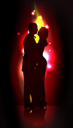 man shadow: silhouette of romantic couple Illustration