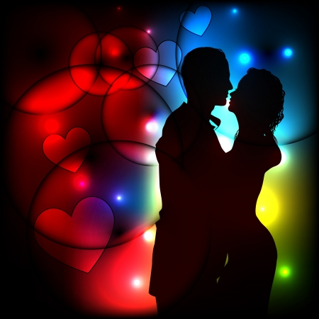 romantic couple silhouette on abstract light background  Vector