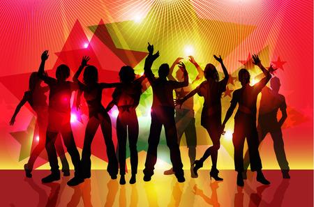 silhouetten van partij mensen dansen