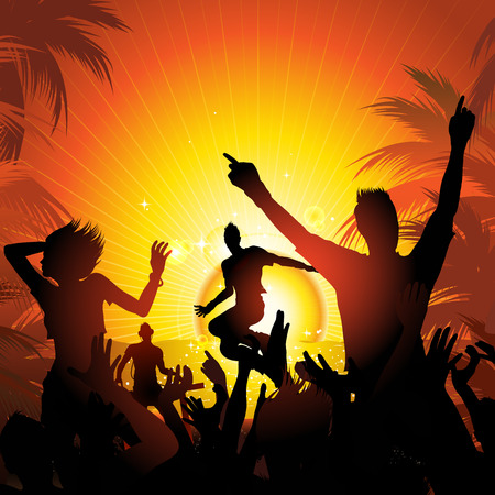 moonlight: summer beach party with people silhouettes dancing vector illustration Illustration