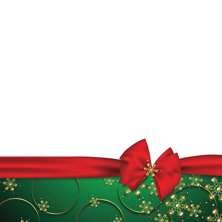new years day: holiday background with red bow and ornament