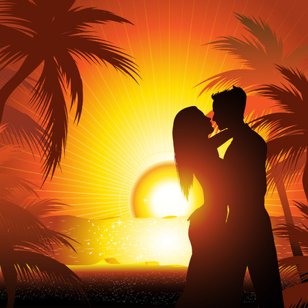 Silhouette of couple  on beach at sunset dancing Vector