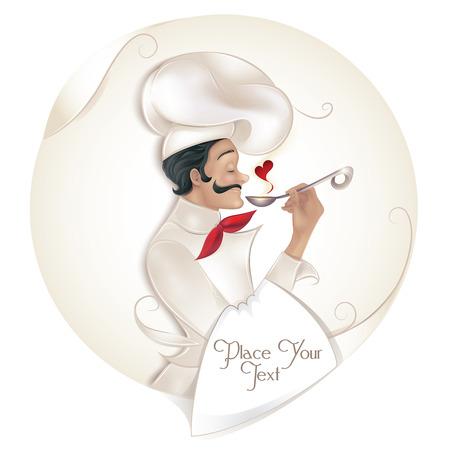 chef italiano: Chef cuchara holding ilustraci�n vectorial Foto de archivo