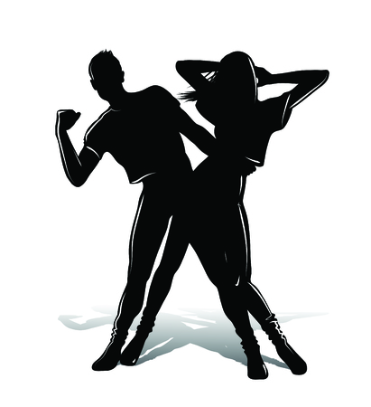 clubbers: Dancing couple silhouette i