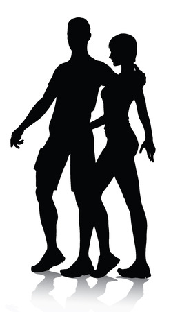 walk: couple silhouette walking vector illustration