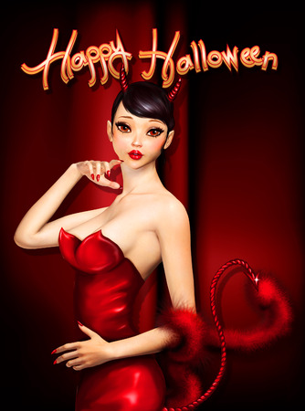 3d witch: Halloween greeting card with cute devil in red dress