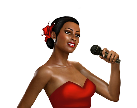 jazz club: 3d render female singer with microphone