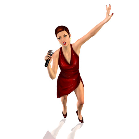 3d render of a singer singing with the microphone Stock Photo - 45067687