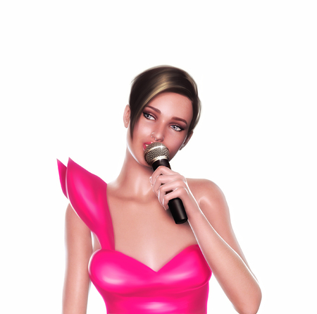 showgirl: 3d render of a singer singing with the microphone