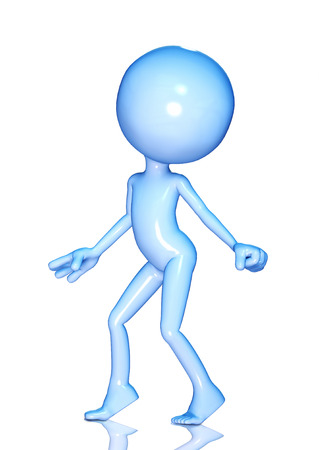 small people: 3d figure dancing isolated on white Stock Photo