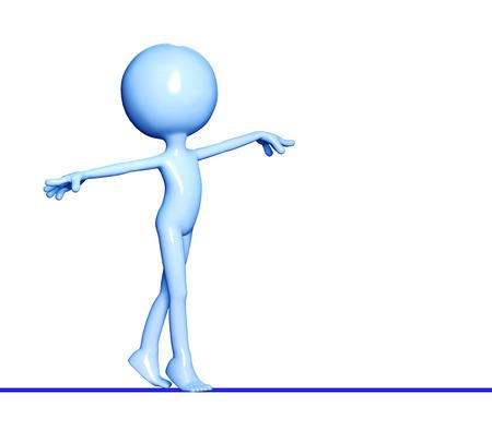 acrobat: 3d figure acrobat walking on the rope isolated on white background Stock Photo