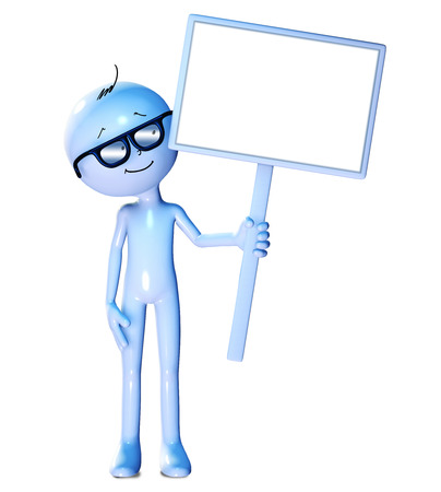 copies: 3d figure holding blank board isolated on white background Stock Photo
