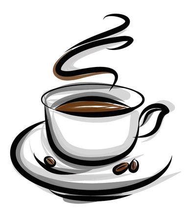taza cafe: ilustración de café aislado sobre fondo blanco Vectores