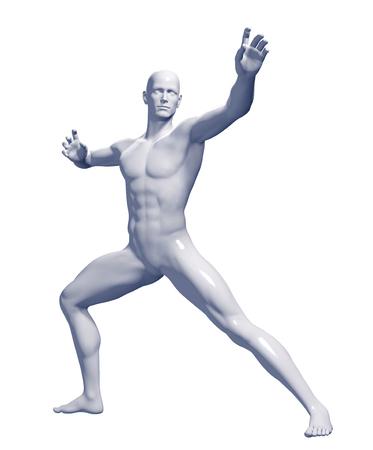 solid figure: 3d ha reso l'illustrazione di un maschio isolato su sfondo bianco Archivio Fotografico