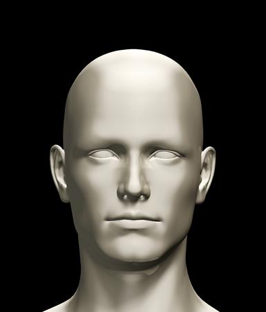 3d teruggegeven illustratie van een menselijk hoofd geïsoleerd op zwarte achtergrond