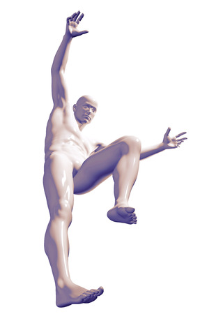 arms up: 3d rendered illustration of a male jumping isolated on white Stock Photo