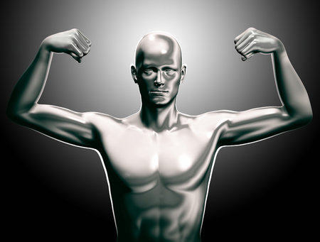 chrome man: 3d rendered man illustration power expression Stock Photo