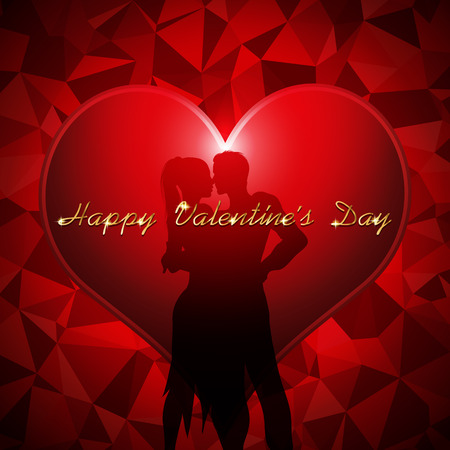 sihouette: Valentines day background vector illustration