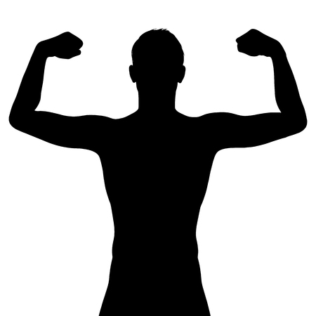 shirtless: Male silhouette flexing his muscles vector illustration isolated on white