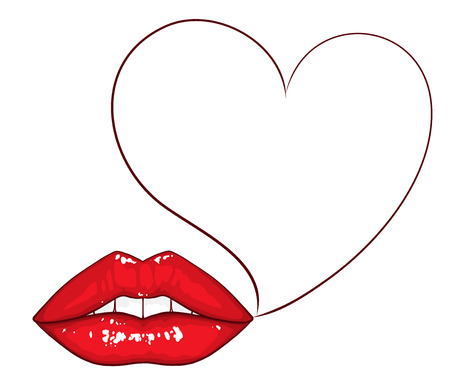 make my day: Sexy lips with heart shaped bubble vector illustration