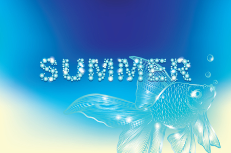 sand: Summer background with fish silhouette vector illustration