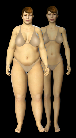 before: 3d fat and thin woman before and after concept illustration