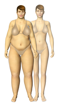 weight loss: 3d fat and thin woman before and after concept illustration