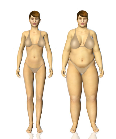 after: 3d fat and thin woman before and after concept illustration