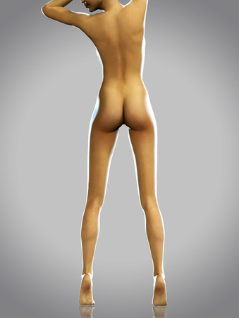 naked female body: 3d render photorealistic woman from back with beautiful legs