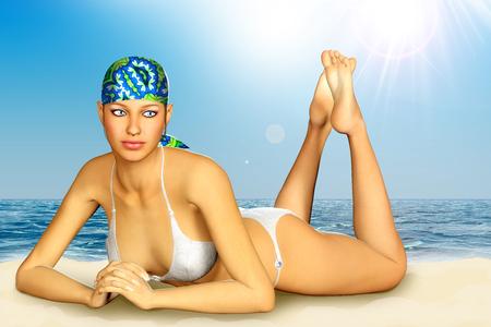 sunbathing: 3d render of beautiful woman sunbathing on beach