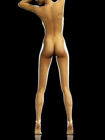 nude: 3d render photorealistic woman from back with beautiful legs