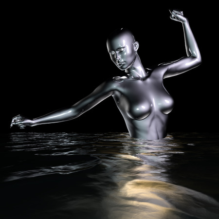 nude black woman: 3d rendered illustration of female body