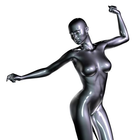 mujeres negras desnudas: 3d rindió la ilustración de la carrocería femenina Foto de archivo
