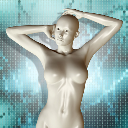 3d nude: 3d rendered illustration of female body