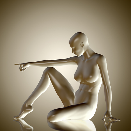 naked woman sitting: 3d rendered illustration of female body