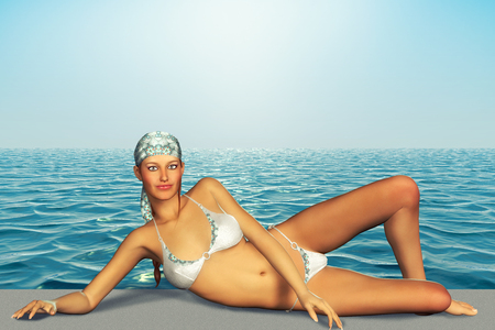 sun bathing: 3d illustration of beautiful woman sun bathing Stock Photo