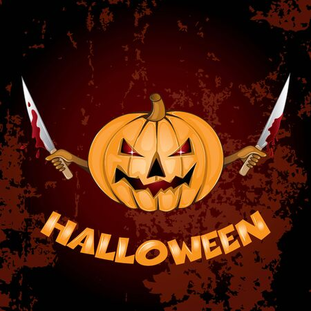 Halloween Background with halloween pumpkin with bloody knives in hands
