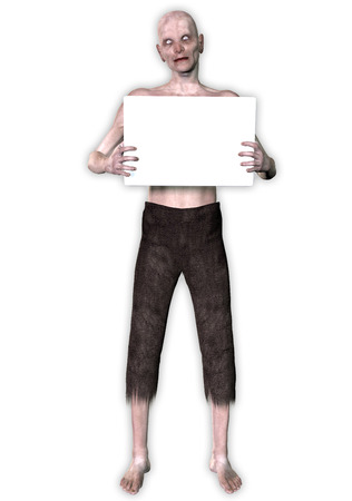 spook: 3d render of a monster holding placard Stock Photo
