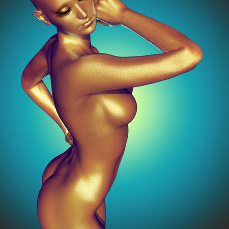 naked woman back: 3d rendered illustration of woman