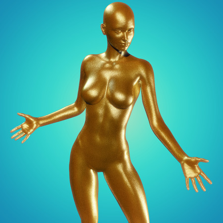 femmes nues sexy: 3d, rendu, Illustration de la femme