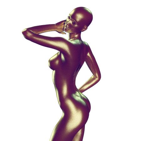 femmes nues sexy: 3d, rendu, Illustration de la femme avec une belle peau