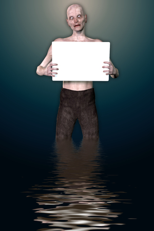 3d render of a monster holding placard Stock Photo