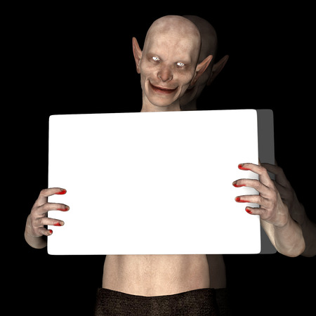 a placard: 3d render of a monster holding placard Stock Photo