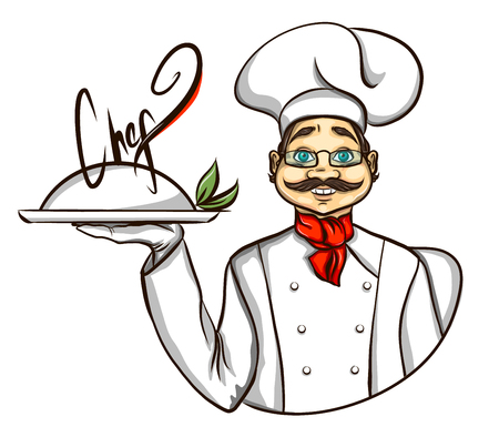 vintage sign: chef illustration holding tray Illustration