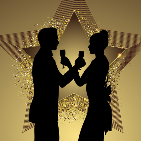 prom night: Romantic couple silhouette sharing glass of champagne vector illustration