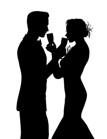 champagne: Romantic couple silhouette sharing glass of champagne isolated on white Illustration