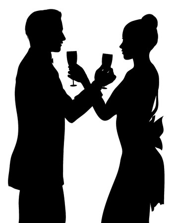 Romantic couple silhouette sharing glass of champagne isolated on white Vector Illustration